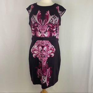New York & Company Stretch Purple Floral Dress